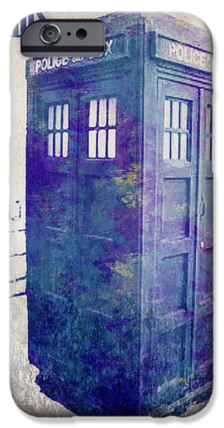 Police Art iPhone Cases - Tardis iPhone Case by Paulette B Wright