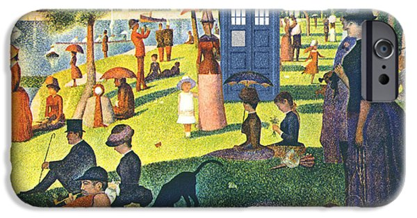 Seurat iPhone Cases - TARDIS v Georges Seurat iPhone Case by GP Abrajano