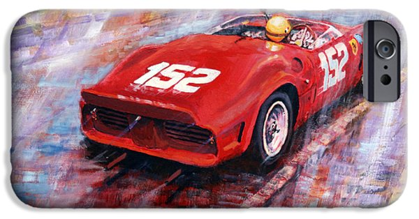 Automotive Paintings iPhone Cases - Targa Florio 1962 Ferrari Dino 246 SP R Rodrigues  iPhone Case by Yuriy Shevchuk