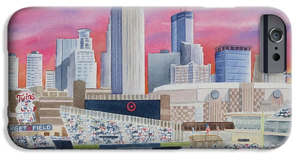 Baseball Stadiums Paintings iPhone Cases - Target Field iPhone Case by Deborah Ronglien