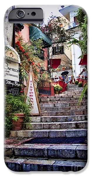 Atmospheric iPhone Cases - Taormina Steps Sicily iPhone Case by David Smith