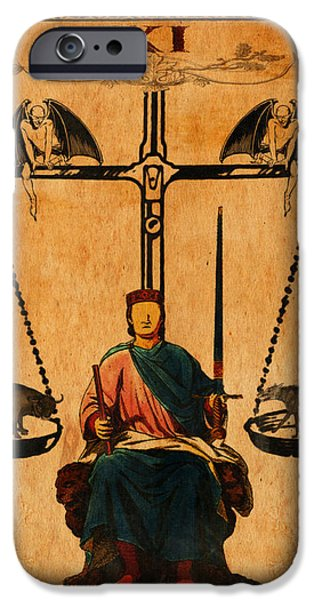 Tarots iPhone Cases - Tarot Card Justice iPhone Case by Cinema Photography