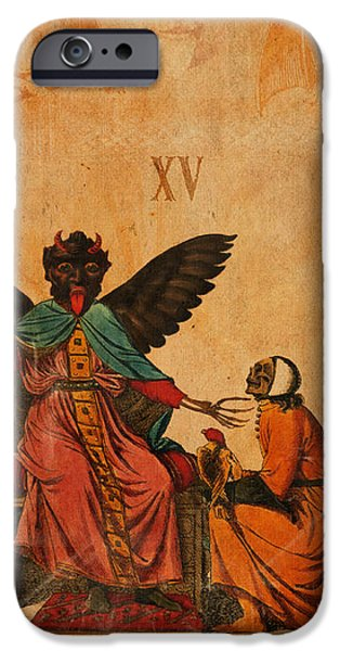 Tarots iPhone Cases - Tarot Card The Devil iPhone Case by Cinema Photography
