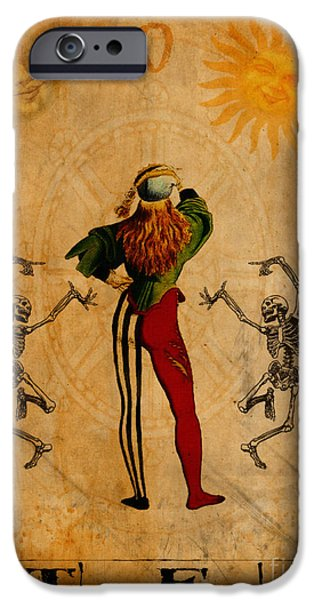 Religious Digital Art iPhone Cases - Tarot Card The Fool iPhone Case by Cinema Photography