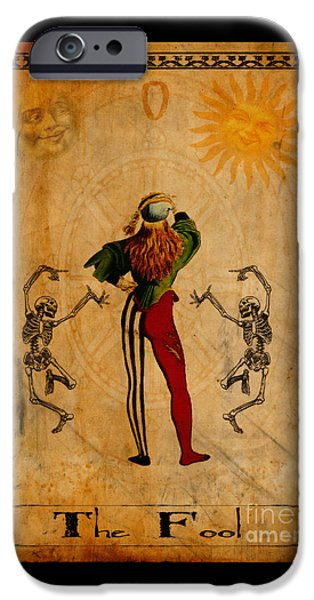 Jester Digital iPhone Cases - Tarot Card The Fool iPhone Case by Cinema Photography