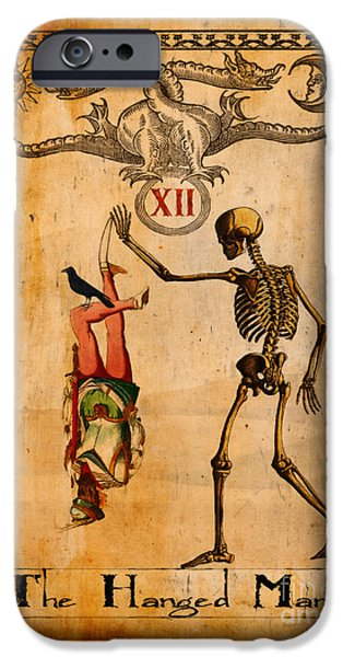 Tarots iPhone Cases - Tarot Card The Hanged Man iPhone Case by Cinema Photography