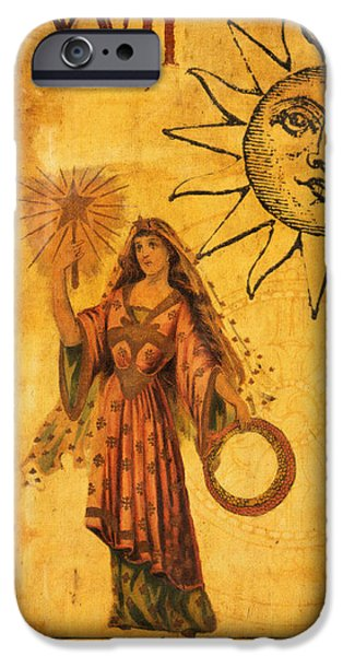 Religious Digital iPhone Cases - Tarot Card The Star iPhone Case by Cinema Photography