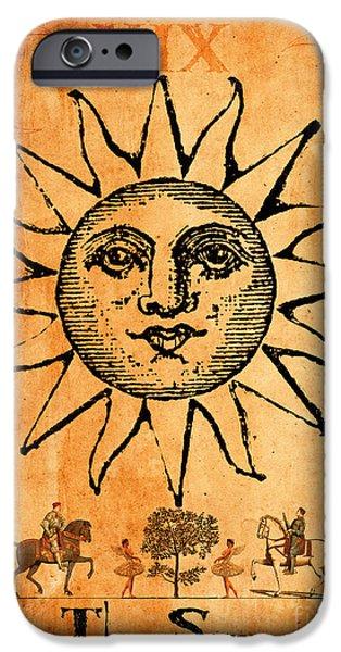 Religious Digital Art iPhone Cases - Tarot Card The Sun iPhone Case by Cinema Photography