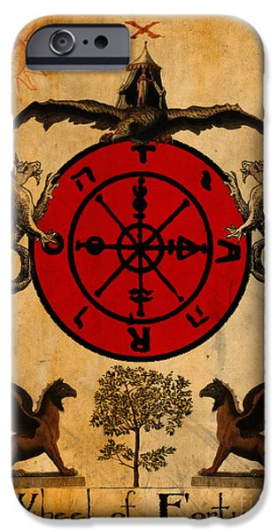Fortune-teller iPhone Cases - Tarot Card Wheel of Fortune iPhone Case by Cinema Photography