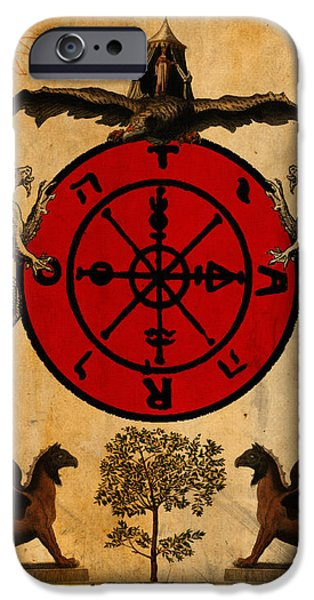 Tarots iPhone Cases - Tarot Card Wheel of Fortune iPhone Case by Cinema Photography