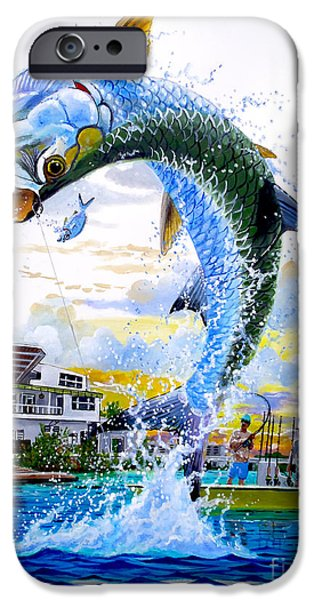 Tarpon leap iPhone Case by Carey Chen