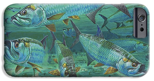 Islamorada iPhone Cases - Tarpon rolling In0025 iPhone Case by Carey Chen