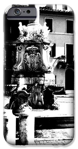 Fontain iPhone Cases - Tarquinia scorcio bianco e nero contrastato iPhone Case by Giuseppe Cocco