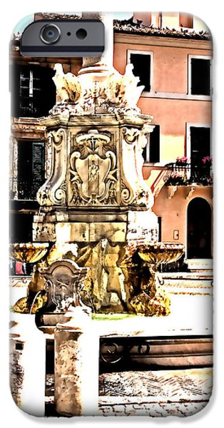 Fontain iPhone Cases - Tarquinia scorcio con fontana acquerello iPhone Case by Giuseppe Cocco