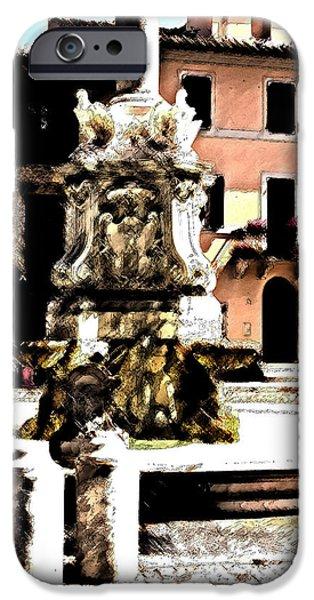 Fontain iPhone Cases - Tarquinia scorcio piazza con fontana acquerello e inchiostro iPhone Case by Giuseppe Cocco