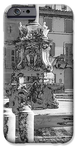 Fontain iPhone Cases - Tarquinia scorcio piazza con fontana bianco nero e inchiostro iPhone Case by Giuseppe Cocco