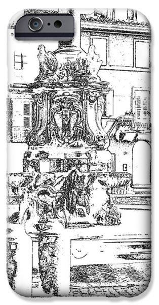 Fontain iPhone Cases - Tarquinia scorcio piazza con fontana foto grafica disegno  iPhone Case by Giuseppe Cocco