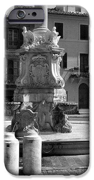 Fontain iPhone Cases - Tarquinia scorcio piazza con fontana iPhone Case by Giuseppe Cocco