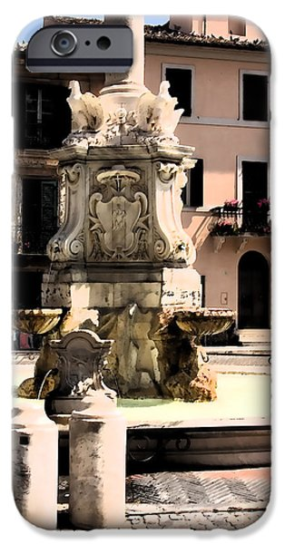 Fontain iPhone Cases - Tarquinia veduta fontana acquerello iPhone Case by Giuseppe Cocco