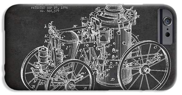 Steam Engine iPhone Cases - Tarr Steam Fire Engine Patent Drawing from 1896 - Dark iPhone Case by Aged Pixel