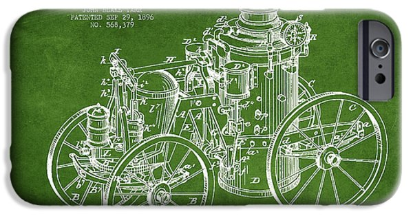 Steam Engine iPhone Cases - Tarr Steam Fire Engine Patent Drawing from 1896 - Green iPhone Case by Aged Pixel