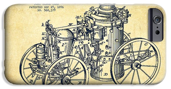 Steam iPhone Cases - Tarr Steam Fire Engine Patent Drawing from 1896 - Vintage iPhone Case by Aged Pixel