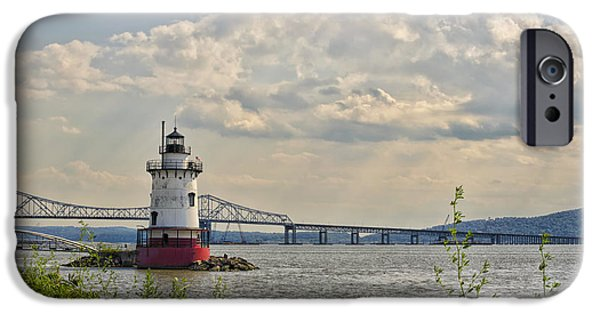 Hudson River iPhone Cases - Tarrytown Lighthouse and Tappan Zee Bridge Sleepy Hollow NY iPhone Case by Marianne Campolongo