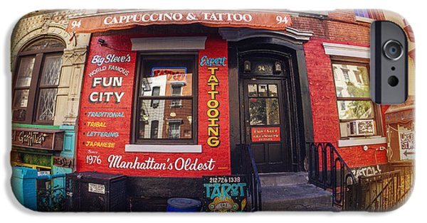 East Village iPhone Cases - Tatoos iPhone Case by June Marie Sobrito