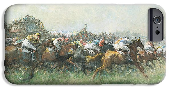 The Horse iPhone Cases - Tattenham Corner the Epsom Derby iPhone Case by Gilbert Holiday