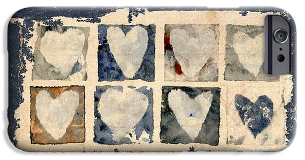 Photomontage iPhone Cases - Tattered Hearts iPhone Case by Carol Leigh