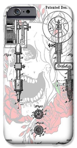 Tattoo Machine Patent iPhone Case by Dan Sproul