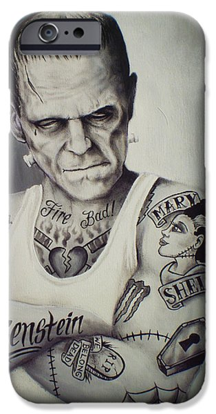 Hammer Paintings iPhone Cases - Tattooed Frankenstein by Mike Vanderhoof iPhone Case by Mike Vanderhoof