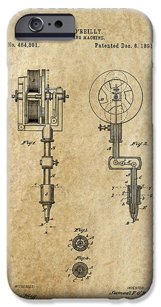 TATTOOING MACHINE 2 PATENT ART  1891 iPhone Case by Daniel Hagerman