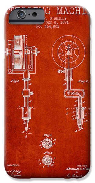 Tattoo iPhone Cases - Tattooing Machine Patent from 1891 - Red iPhone Case by Aged Pixel