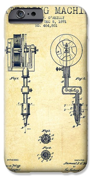 Blueprint iPhone Cases - Tattooing Machine Patent from 1891 - Vintage iPhone Case by Aged Pixel