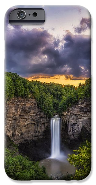 Taughannock Falls State Park iPhone Cases - Taughannock at Dusk iPhone Case by Mark Papke