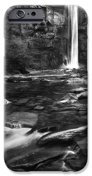 Taughannock Falls iPhone Cases - Taughannock Black And White iPhone Case by Bill  Wakeley