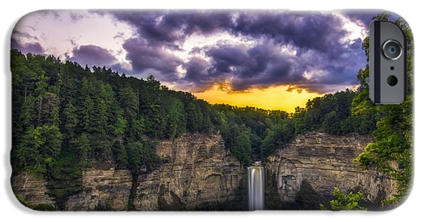 Taughannock Falls State Park iPhone Cases - Taughannock Falls at Dusk iPhone Case by Mark Papke
