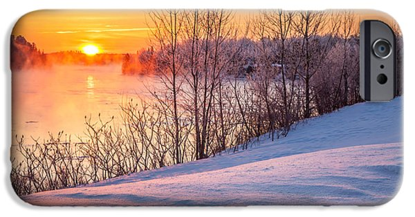 Winter In Maine iPhone Cases - Taunton River Sunrise iPhone Case by Susan Cole Kelly