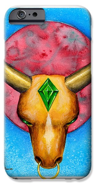 Signs Of The Zodiac Paintings iPhone Cases - Taurus iPhone Case by Michael Baum