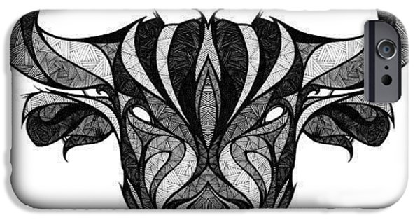 Bulls Pyrography iPhone Cases - Taurus iPhone Case by Raphael  Sanzio