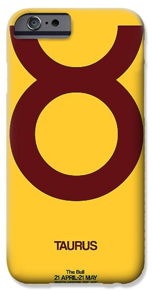 Aquarius iPhone Cases - Taurus Zodiac Sign Brown iPhone Case by Naxart Studio