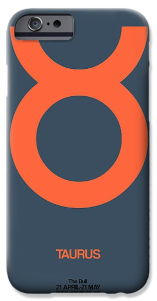 Virgo iPhone Cases - Taurus Zodiac Sign Orange iPhone Case by Naxart Studio