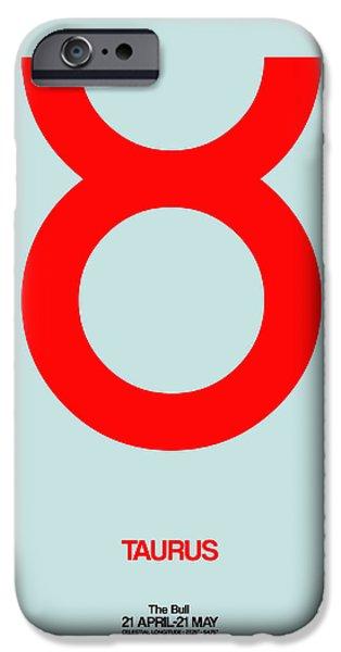 Aquarius iPhone Cases - Taurus Zodiac Sign Red iPhone Case by Naxart Studio