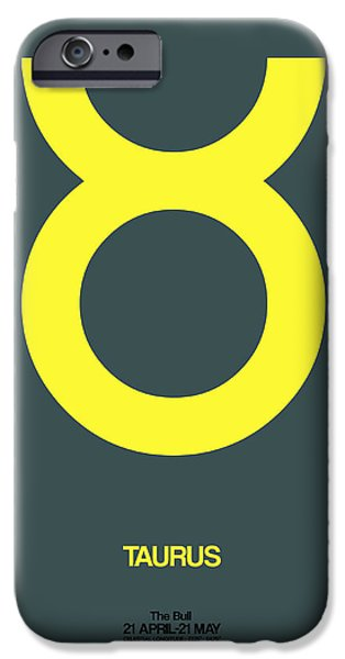 Virgo iPhone Cases - Taurus Zodiac Sign Yellow iPhone Case by Naxart Studio