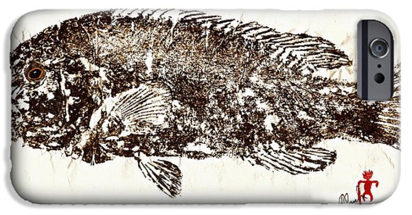 Sportfish Mixed Media iPhone Cases - Tautog on Rice Paper iPhone Case by Jeffrey Canha