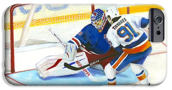 Hockey Paintings iPhone Cases - Tavares  iPhone Case by Joe Maracic