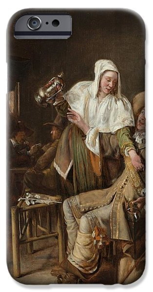 Domestic Scene iPhone Cases - Tavern Scene with Maid Trying to Fill the Glass of a Cavalier iPhone Case by Pieter de Hooch