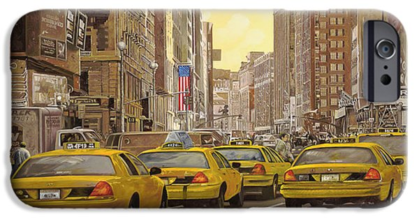 Statue iPhone Cases - taxi a New York iPhone Case by Guido Borelli