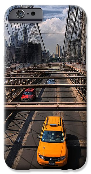 Taxi Crossing the Brooklyn Bridge iPhone Case by Amy Cicconi